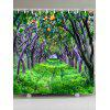 Green Orchards Pattern Waterproof Shower Curtain - GREEN