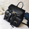 Buckle Straps PU Leather Backpack - BLACK