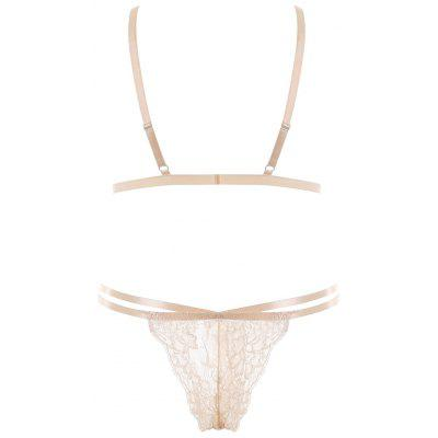 Bralette Strappy Lace Bra SetLingerie &amp; Shapewear<br>Bralette Strappy Lace Bra Set<br><br>Bra Style: Unlined<br>Closure Style: None<br>Cup Shape: Three Quarters(3/4 Cup)<br>Embellishment: Lace<br>Materials: Nylon, Spandex<br>Package Contents: 1 x Bra  1 x Briefs<br>Pattern Type: Solid<br>Strap Type: Adjusted-straps<br>Style: Sexy<br>Support Type: Wire Free<br>Weight: 0.1200kg