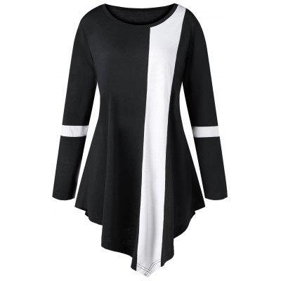 Buy BLACK 2XL Plus Size Two Tone Color Asymmetric Long Top for $16.84 in GearBest store