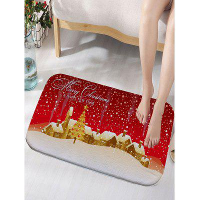 Christmas Town Print Nonslip Flannel Bath Rug