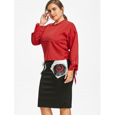 Plus Size Tied Sleeve Top with Lips Patch SkirtPlus Size Bottoms<br>Plus Size Tied Sleeve Top with Lips Patch Skirt<br><br>Length: Knee-Length<br>Material: Polyester<br>Package Contents: 1 x Top  1 x Skirt<br>Pattern Type: Others<br>Season: Fall<br>Silhouette: Bodycon<br>Weight: 0.7200kg