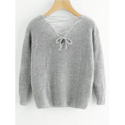 Lace Up Back V Neck Pullover SweaterSweaters &amp; Cardigans<br>Lace Up Back V Neck Pullover Sweater<br><br>Collar: V-Neck<br>Material: Acrylic, Cotton, Polyester<br>Package Contents: 1 x Sweater<br>Pattern Type: Solid<br>Sleeve Length: Full<br>Style: Fashion<br>Type: Pullovers<br>Weight: 0.4750kg