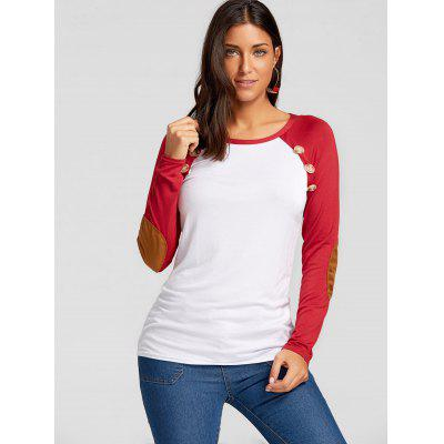 Buttons Elbow Patch Raglan Sleeve TopBlouses<br>Buttons Elbow Patch Raglan Sleeve Top<br><br>Collar: Round Neck<br>Embellishment: Button<br>Material: Polyester, Spandex<br>Package Contents: 1 x Top<br>Pattern Type: Others<br>Season: Fall, Spring<br>Shirt Length: Regular<br>Sleeve Length: Full<br>Sleeve Type: Raglan Sleeve<br>Style: Casual<br>Weight: 0.3700kg