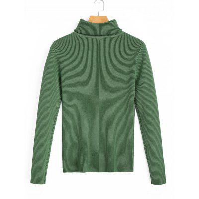 Buy GREEN Pullover Turtleneck Ribbed Sweater for $27.96 in GearBest store
