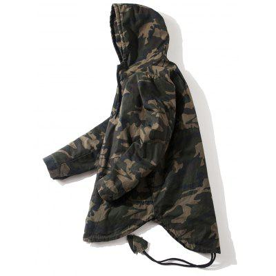 Drawstring High Low Hem Camo Hooded Jacket