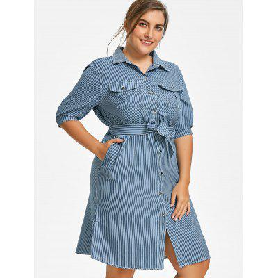 Side Slit Striped Belted Plus Size Shirt DressPlus Size Dresses<br>Side Slit Striped Belted Plus Size Shirt Dress<br><br>Dresses Length: Knee-Length<br>Material: Polyester<br>Neckline: Shirt Collar<br>Package Contents: 1 x Dress  1 x Belt<br>Pattern Type: Striped<br>Season: Fall, Summer<br>Silhouette: A-Line<br>Sleeve Length: 3/4 Length Sleeves<br>Style: Casual<br>Weight: 0.4300kg<br>With Belt: Yes