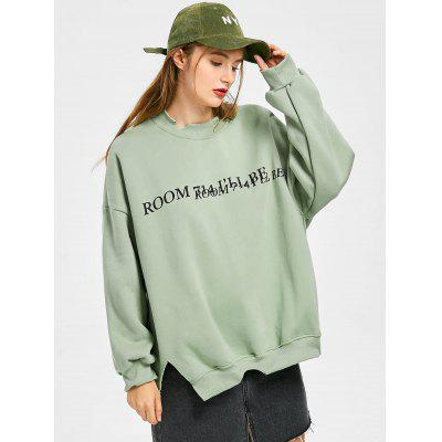 Letter Graphic Cut Out Slit Sweatshirt