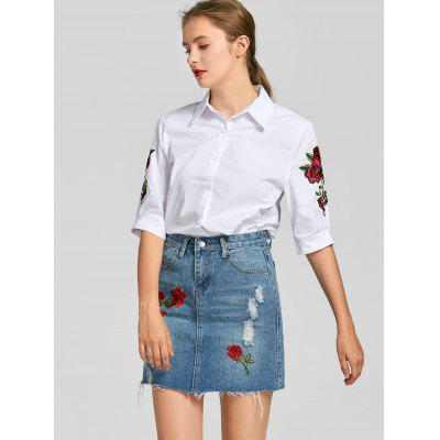 Floral Patched Shirt and Denim Skirt Set