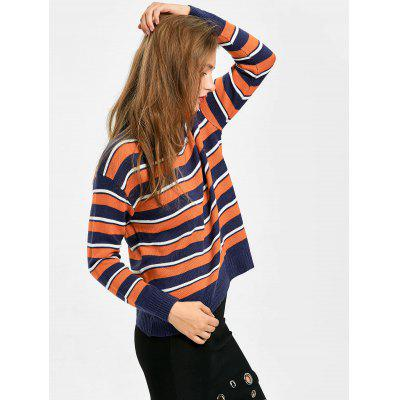 Crew Neck Drop Shoulder Striped SweaterSweaters &amp; Cardigans<br>Crew Neck Drop Shoulder Striped Sweater<br><br>Collar: Crew Neck<br>Material: Polyester<br>Package Contents: 1 x Sweater<br>Pattern Type: Striped<br>Sleeve Length: Full<br>Style: Casual<br>Type: Pullovers<br>Weight: 0.4100kg