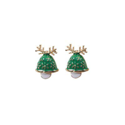 Cute Christmas Elk Horn Bell Stud Earrings