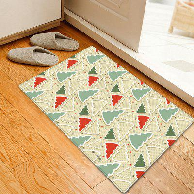 Christmas Cartoon Trees Pattern Water Absorption Area Rug