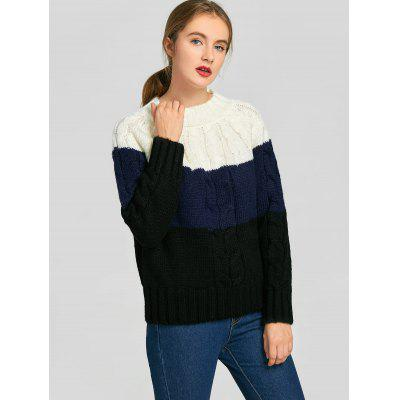 Cable Knit Contrast Sweater