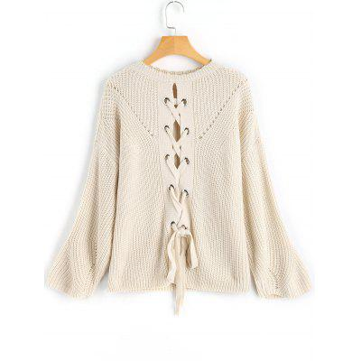 Convertible Lace-up Crew Neck Sweater