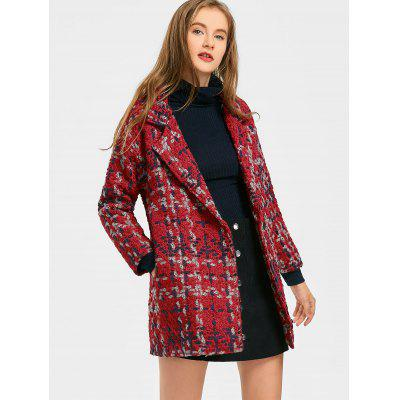 Pockets Snap Button Tweed Coat