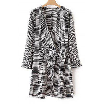 Houndstooth Crossed Front Long Sleeve Dress
