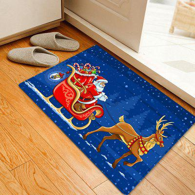 Christmas Deer Sleigh Santa Pattern Water Absorption Area Rug