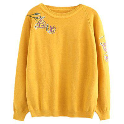 Floral Embroidered Raglan Sleeve Pullover Sweater