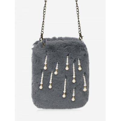 Buy GRAY Fur Faux Pearl Chain Crossbody Bag for $20.95 in GearBest store