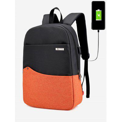 Buy Color Block Rivet USB Charging Port Backpack, YELLOW, Bags & Shoes, Men's Bags, Backpacks for $34.14 in GearBest store