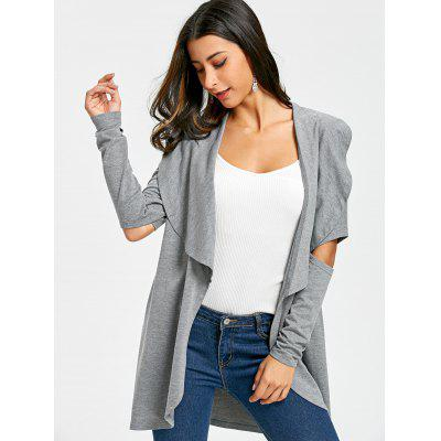 Cutout Elbow Waterfall CardiganSweaters &amp; Cardigans<br>Cutout Elbow Waterfall Cardigan<br><br>Collar: Turn-down Collar<br>Material: Polyester, Spandex<br>Package Contents: 1 x Cardigan<br>Pattern Type: Solid<br>Season: Spring, Fall<br>Sleeve Length: Full<br>Style: Casual<br>Type: Cardigans<br>Weight: 0.4300kg