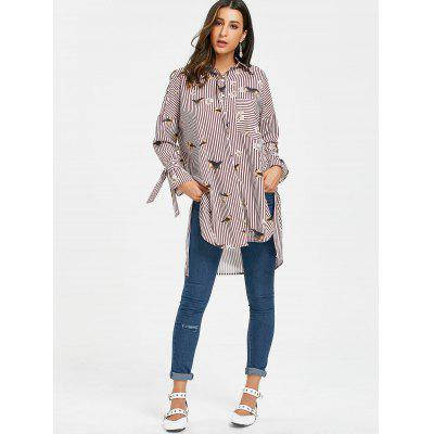 High Low Slit Bird Floral Striped ShirtBlouses<br>High Low Slit Bird Floral Striped Shirt<br><br>Collar: Shirt Collar<br>Embellishment: Bowknot<br>Material: Polyester<br>Package Contents: 1 x Shirt<br>Pattern Type: Striped, Floral, Animal<br>Season: Fall, Spring<br>Shirt Length: Long<br>Sleeve Length: Full<br>Style: Casual<br>Weight: 0.3100kg