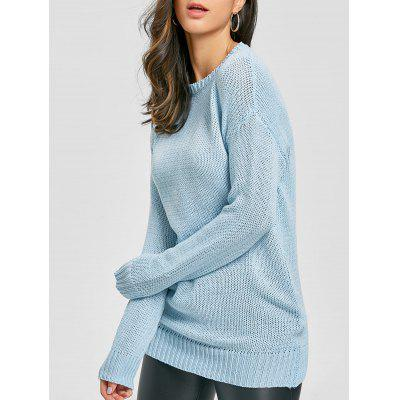 Light blue Crew Neck Tunic Chunky Sweater ONE SIZE-$23.7 Online ...