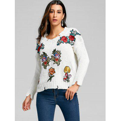 Floral Embroidered Chunky Distressed SweaterSweaters &amp; Cardigans<br>Floral Embroidered Chunky Distressed Sweater<br><br>Collar: V-Neck<br>Embellishment: Embroidery<br>Material: Acrylic<br>Package Contents: 1 x Sweater<br>Pattern Type: Floral<br>Season: Fall, Spring<br>Sleeve Length: Full<br>Style: Fashion<br>Type: Pullovers<br>Weight: 0.5000kg