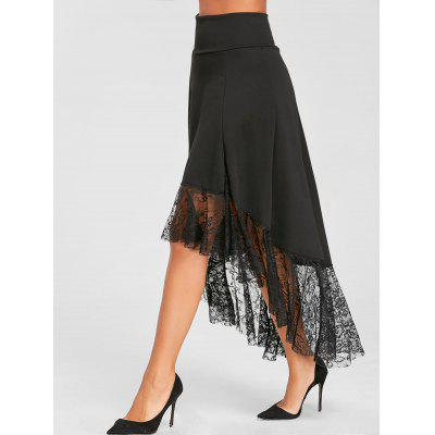 Lace Trimmed High Waist Asymmetric SkirtSkirts<br>Lace Trimmed High Waist Asymmetric Skirt<br><br>Embellishment: Lace<br>Length: Ankle-Length<br>Material: Cotton, Polyester<br>Package Contents: 1 x Skirt<br>Pattern Type: Solid<br>Season: Fall, Spring<br>Silhouette: High-Low<br>Weight: 0.3600kg