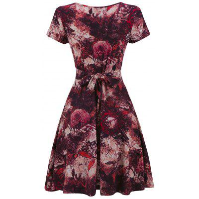 Vintage Tie Dye Floral Print Mini Surplice DressWomens Dresses<br>Vintage Tie Dye Floral Print Mini Surplice Dress<br><br>Dresses Length: Mini<br>Material: Cotton, Spandex<br>Neckline: V-Neck<br>Package Contents: 1 x Dress<br>Pattern Type: Tie Dye, Floral<br>Season: Fall, Spring<br>Silhouette: A-Line<br>Sleeve Length: Short Sleeves<br>Style: Vintage<br>Weight: 0.3300kg<br>With Belt: No