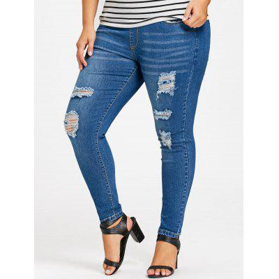 Plus Size Destroyed Skinny JeansPlus Size<br>Plus Size Destroyed Skinny Jeans<br><br>Closure Type: Elastic Waist<br>Embellishment: Frayed<br>Fit Type: Skinny<br>Length: Normal<br>Material: Polyester<br>Package Contents: 1 x Jeans<br>Pant Style: Pencil Pants<br>Pattern Type: Solid<br>Style: Casual<br>Waist Type: Mid<br>Weight: 0.5500kg