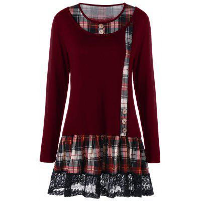 Buy WINE RED 2XL Plus Size Lace Panel Plaid Long Sleeve T-shirt for $24.27 in GearBest store