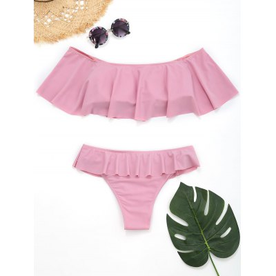 Off The Shoulder Tiered BikiniLingerie &amp; Shapewear<br>Off The Shoulder Tiered Bikini<br><br>Bra Style: Padded<br>Elasticity: Elastic<br>Gender: For Women<br>Material: Chinlon<br>Neckline: Off The Shoulder<br>Package Contents: 1 x Top  1 x Briefs<br>Pattern Type: Solid Color<br>Support Type: Wire Free<br>Swimwear Type: Bikini<br>Waist: Natural<br>Weight: 0.2700kg