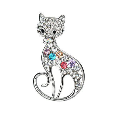 Rhinestone Hollow Out Cat Brooch