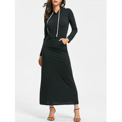 Drawstring Kangaroo Pocket Maxi Hoodie Dress
