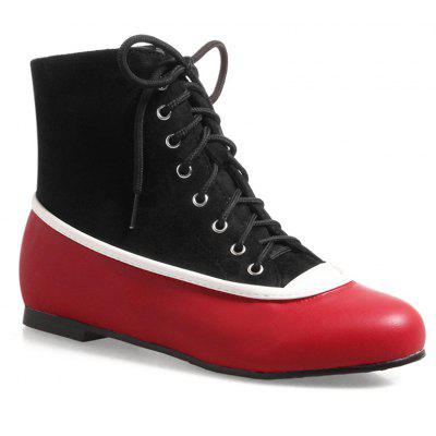 Color Block Lace Up Flat Heel Boots