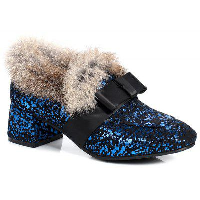 Buy Splicing Glitter Fur Bow Ankle Boots, BLUE AND BLACK, 39, Bags & Shoes, Women's Shoes, Women's Boots for $54.72 in GearBest store