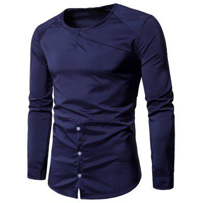 Buy Round Neck Half Button Tee, PURPLISH BLUE, 2XL, Apparel, Men's Clothing, Men's T-shirts, Men's Long Sleeves Tees for $19.14 in GearBest store