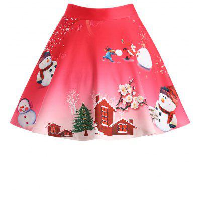 Christmas Snowman Tree Wintersweet Print Ombre Plus Size Skirt