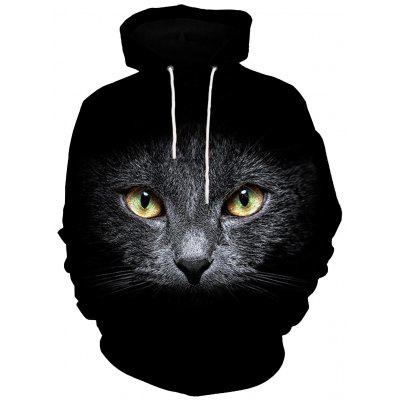 3D Cat Face Print Kangaroo Pocket Hoodie
