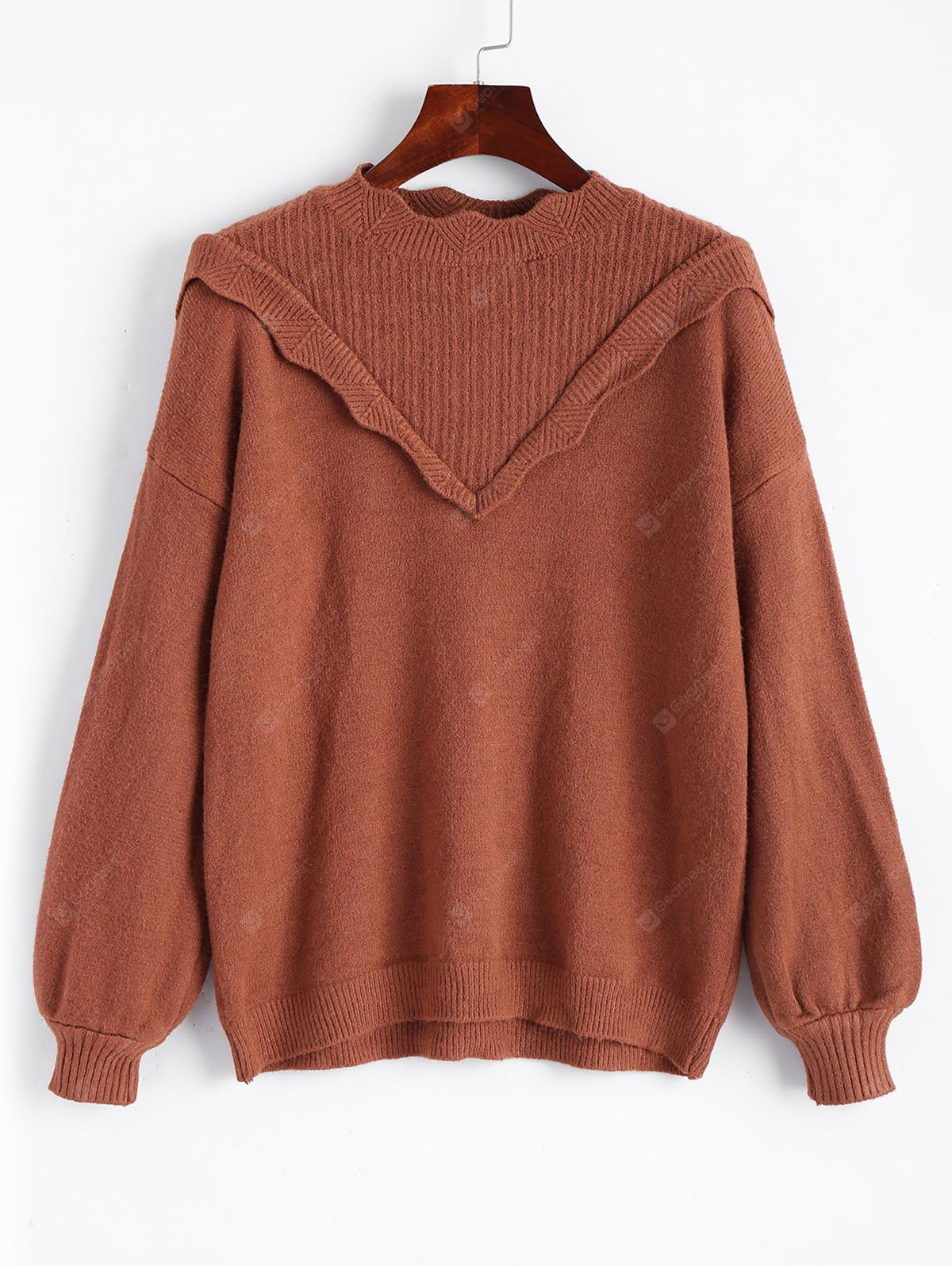 Scalloped Ruffles Pullover Sweater