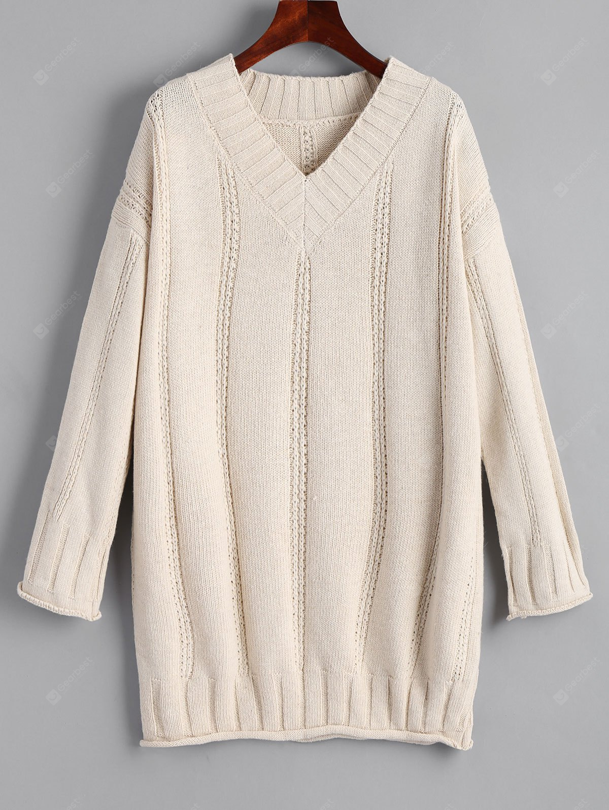Rolled Cuff V Neck Long Pullover Sweater