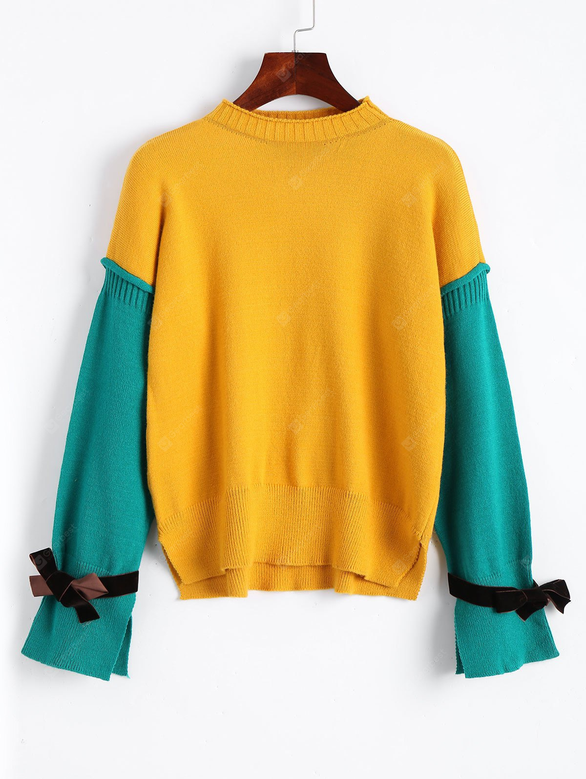 Two Tone Side Slit Pullover Sweater