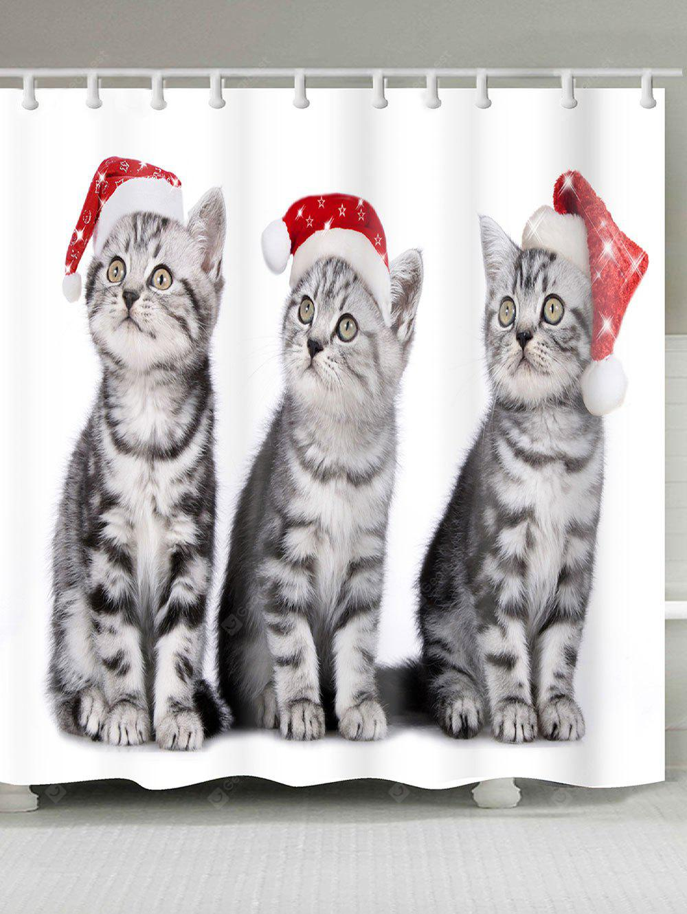 Three Christmas Cats Pattern Bath Shower Curtain