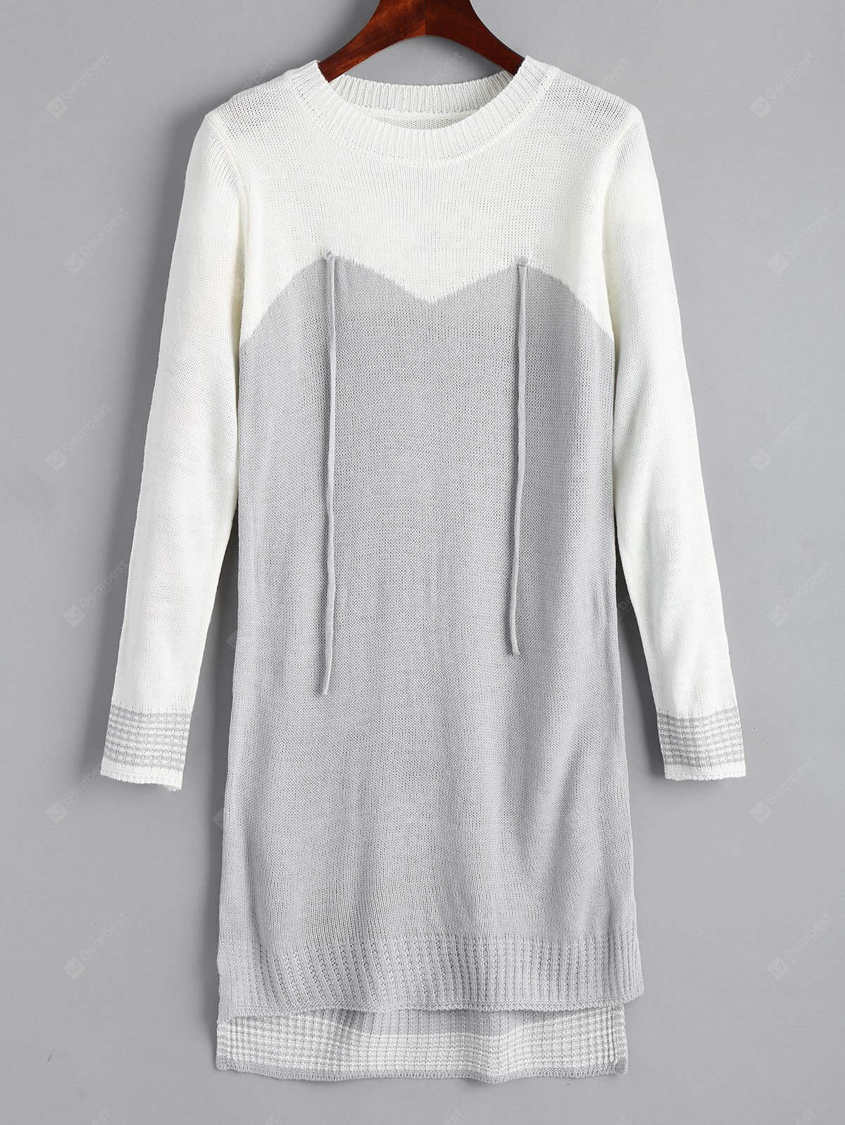Two Tone High Low Sweater Dress