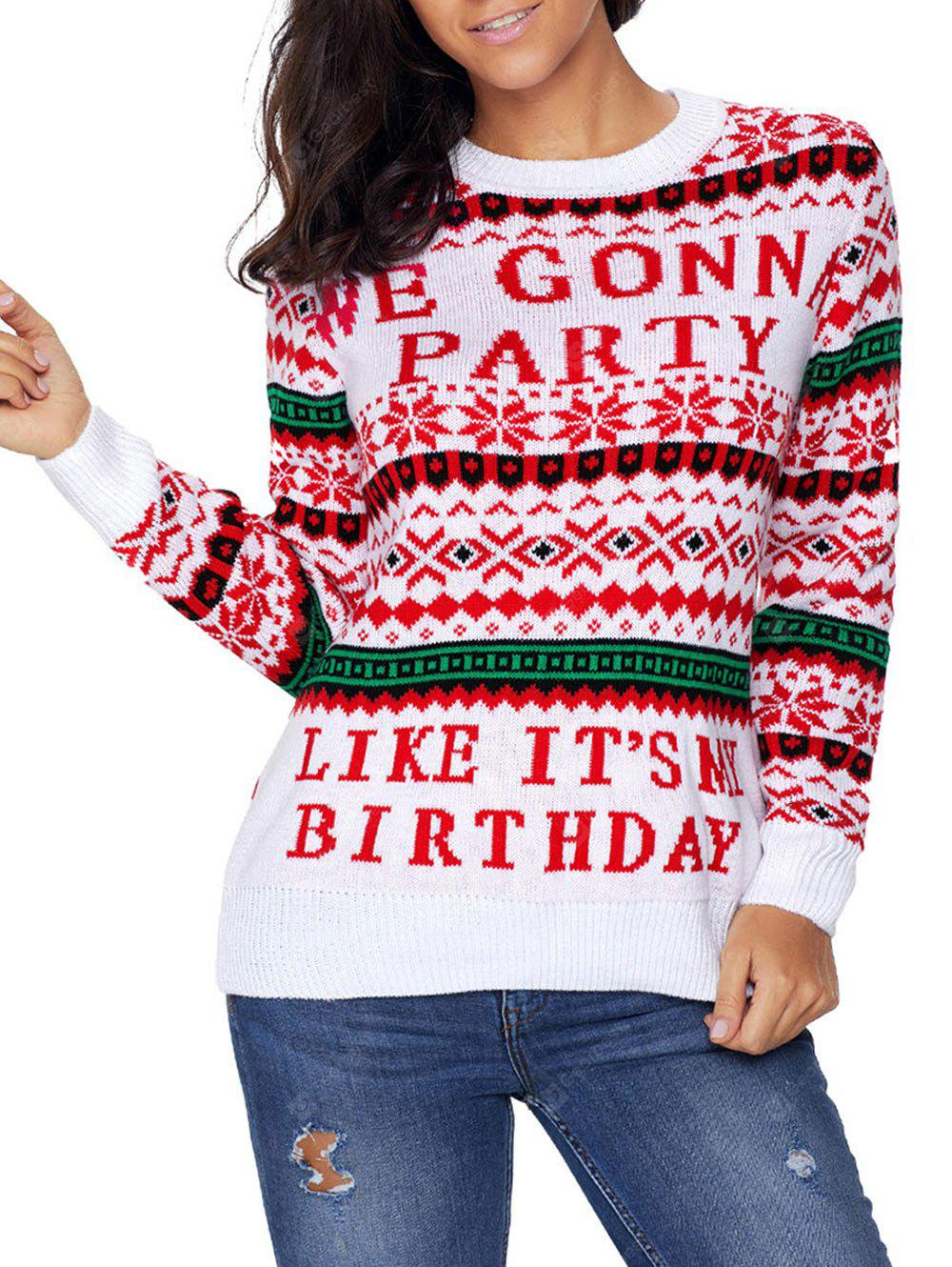 Christmas Graphic Jacquard Crew Neck Sweater