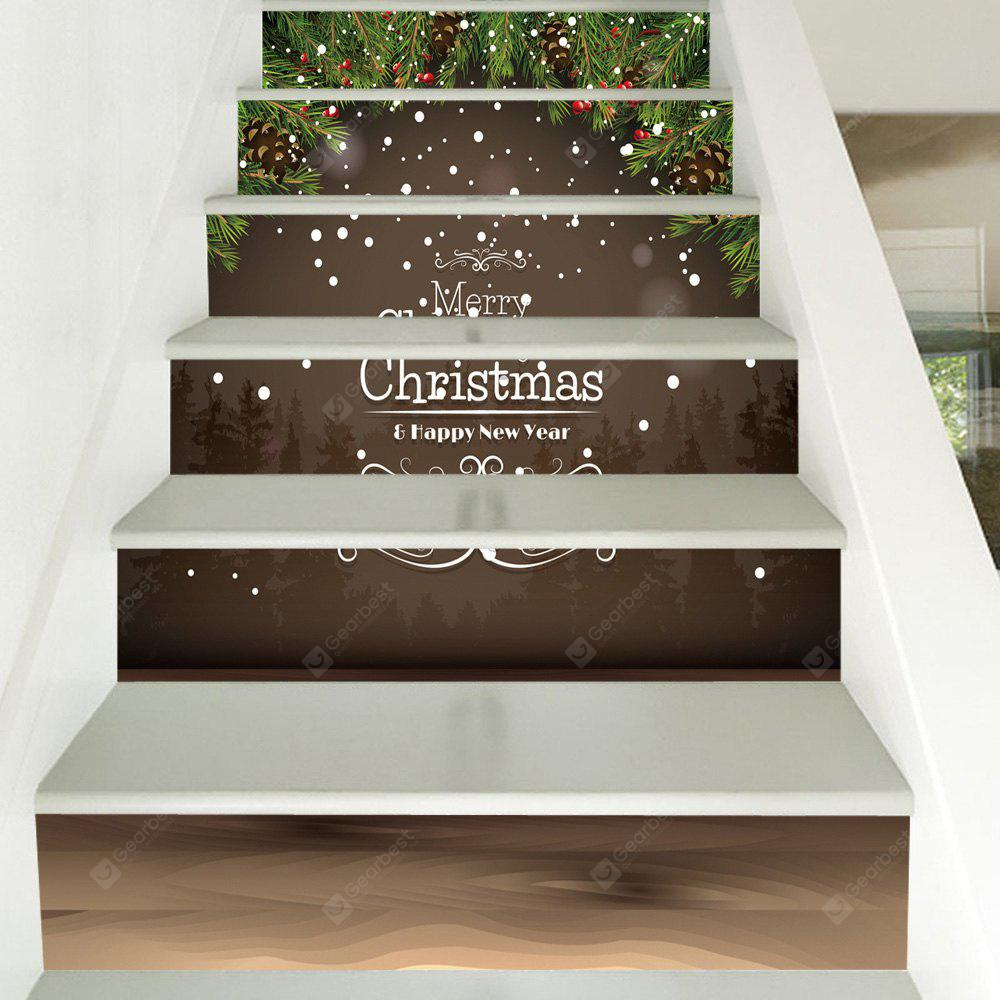 Christmas Pine Branches Pattern Decorative Stair Decals