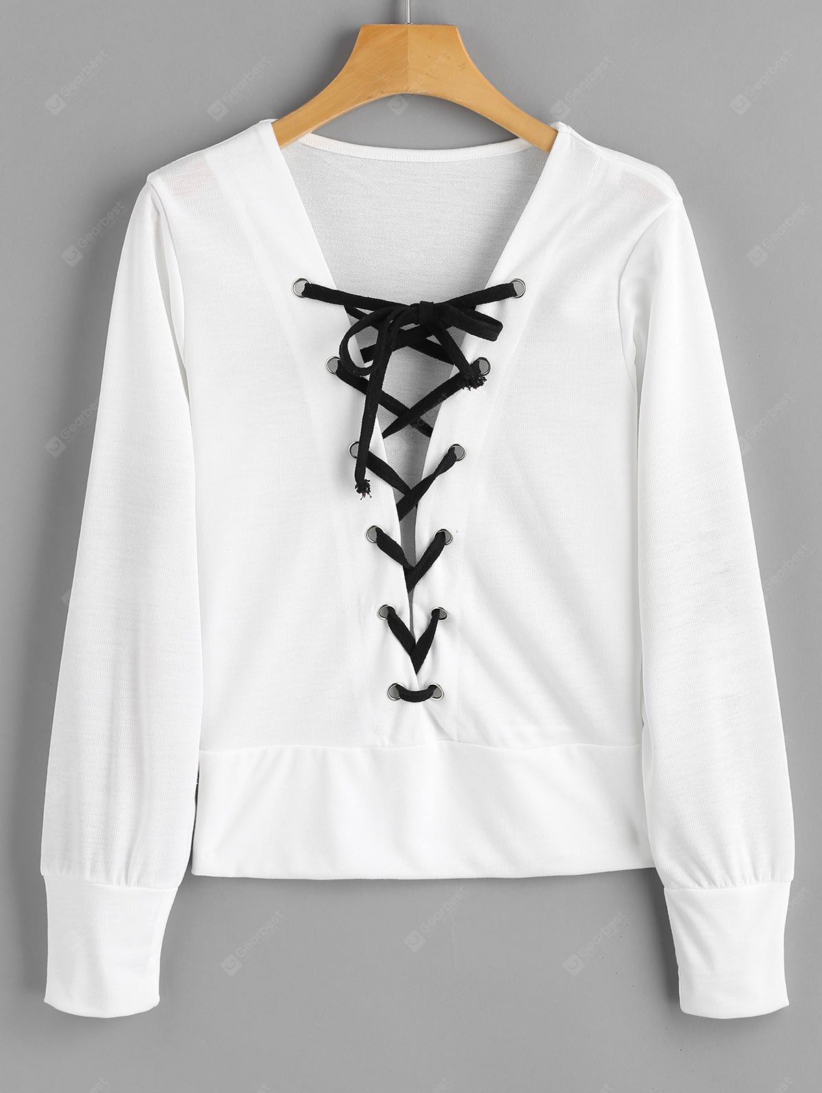 Lace Up Contrast Sweatshirt