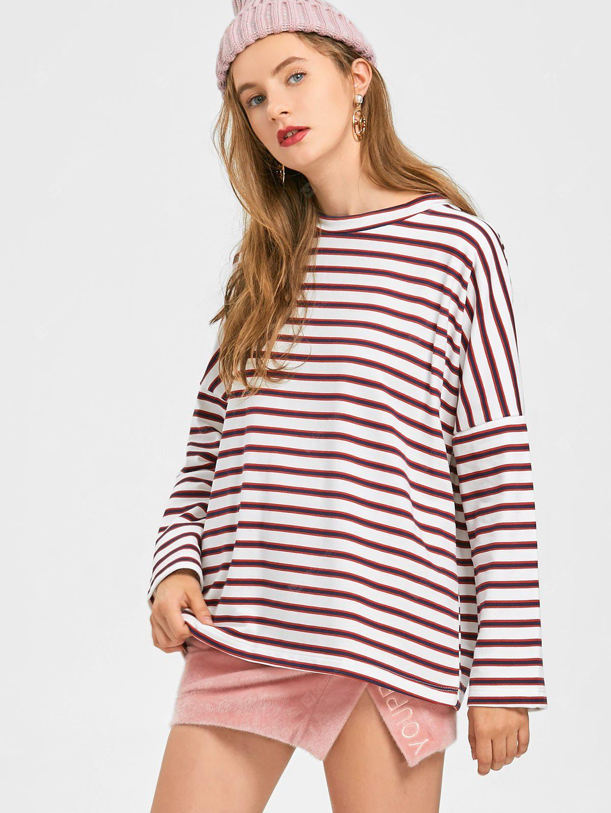 Drop Shoulder Oversized Striped Sweatshirt