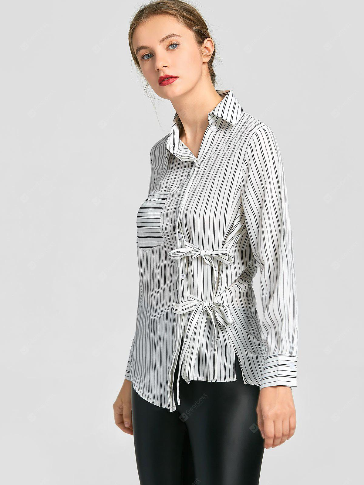 Self Tie Bowknot Button Up Striped Shirt